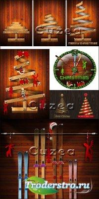 Деревянная и стилизованная рождественская елка