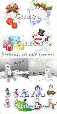 Рождественский векторный комплект со снеговиками