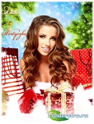 Женский новогодний фотошаблон - Подарки на Новый год