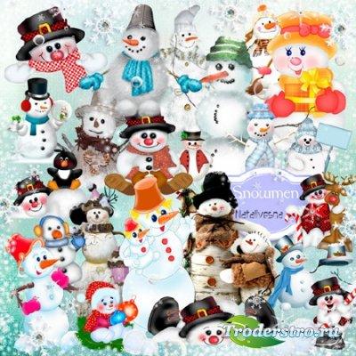 Клипарт в PNG – Снеговички …