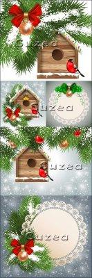 Рождественская поздравительная открытка в векторе