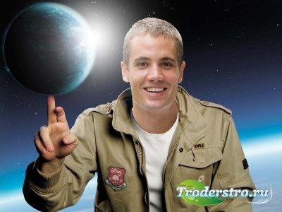 Мужской фотошаблон - «Земной шар на Вашем пальце»