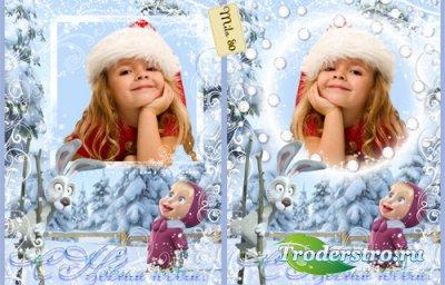 Детская фоторамка - Маша и снег