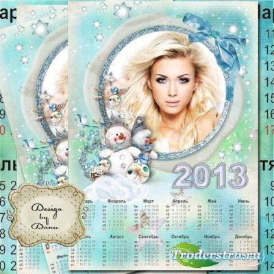 Новогодний календарь на 2013 год - Веселый снеговик