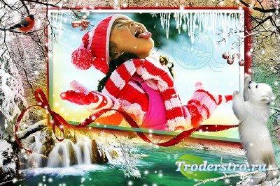 Детская рамочка для фотошопа - В зимнем лесу