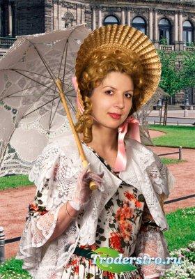 Женский шаблон для фотошопа - Барышня на прогулке