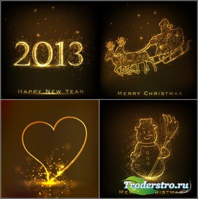 Золотой логотип 2013 и снеговик (Вектор)