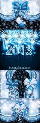 Векторные элементы для оформления открыток к новому году в черно-синем цвет ...