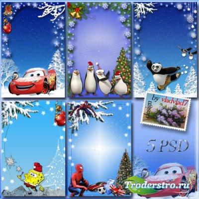 Коллекция зимних праздничных фоторамок мальчикам - Мультгерои в Новом году