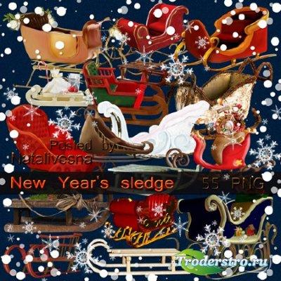 Клипарт в PNG – Новогодние упряжки, санки и салазки …