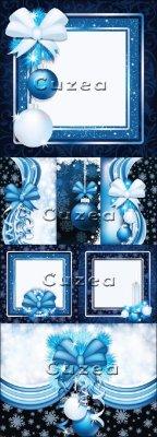 Векторный клипарт новогодних рамок в синем  тоне с декоративными элементами