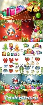 Новогодние деревянные фоны и фоны с подарками в векторе