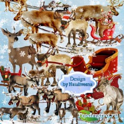 Клипарт в PNG – Новогодние олени, всем везут подарки …