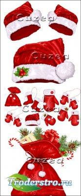Новогодние шапки Санты и рукавицы в векторе