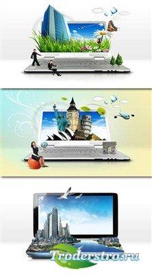 Ноутбук - окно в мир (многослойный PSD)