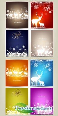 Новогодние белые олени (Вектор)