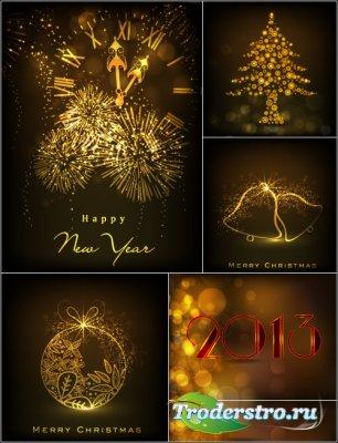Новогодние фоны с елкой (Вектор)