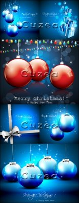Векторные новогодние сверкающие фоны с шарами и отступом для текста