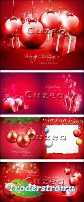 Векторные новогодние сверкающие фоны с шарами и отступом для текста в красн ...
