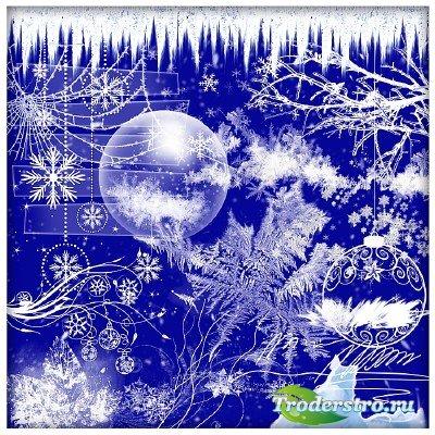 Клипарт - Снежинки и другие зимние элементы - 2