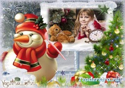 Новогодняя рамка - Снеговик художник