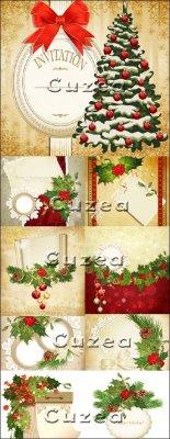 Новогодний декор для поздравительных открыток и приглашений в векторе