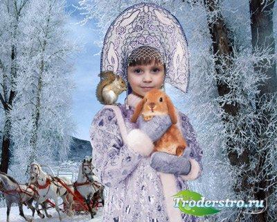 Шаблон  детский - Юная Снегурочка