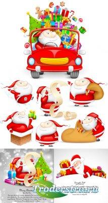 Санта-Клаус с подарками (Вектор)