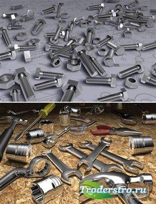 Ключи и болты с гайками (многослойные PSD)