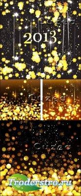 Фоны с золотистыми звездочками к рождеству и новому году - Vector stock