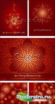 Блестящие снежинки на зимних открытках красного цвета в векторе
