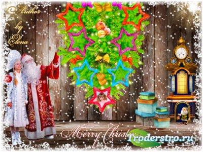 Рамка для фотошопа новогоднее семейное дерево - В стране чудес