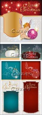 Рождественские баннеры с ангелочками - vector stock