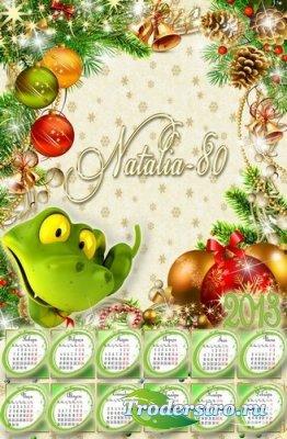Календарь-рамка с символом наступающего 2013 года - Новогодняя змейка