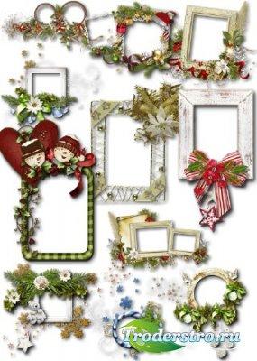 Клипарт PNG - Новогодние рамки для фото