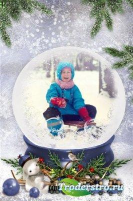 Детская рамка для фотошопа - Зима