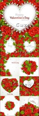 Красные розы и сердца ко дню Валентина в векторе