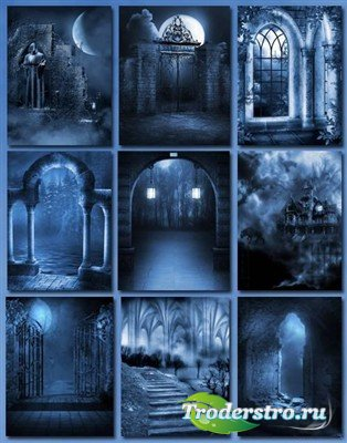 Готика в темно синих тонах (фоны)