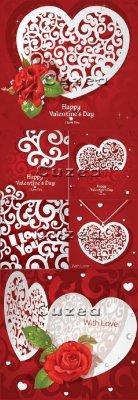 Фоны, розы и сердца ко дню Валентина в векторе