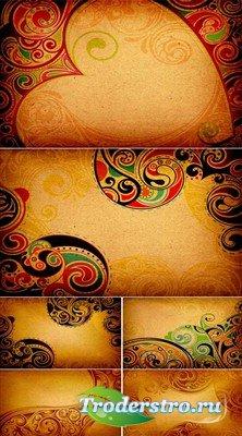 Набор узорных фонов в индийском стиле