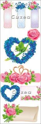 Нежные баннеры, сердца, розы и обручальные кольца в векторе