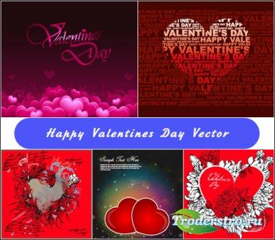 Фоны с сердечками с днем влюбленных (Вектор)