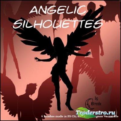 Кисти силуэты ангелов