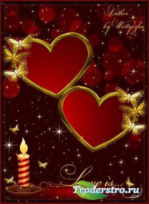 Романтичная рамка для фотошопа - Влюбленные сердца, свеча и золотые мотыльк ...