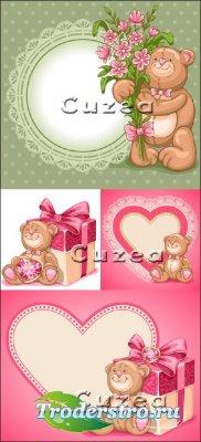 Забавные медвежата с цветами и сердцами в векторе