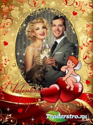 Романтичная рамка для фотошопа - Валентинов день, сердечки, ангелочек, день ...