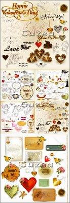 Надписи, сердца, ангелочки и элементы ко дню Валентина - vector stock