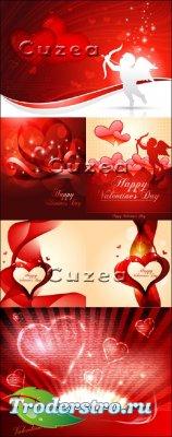 Ангелочки и сердца на красных фонах к празднику Валентина
