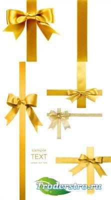 Золотые подарочные банты (набор HQ фонов)