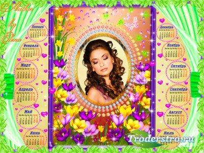 Романтический  календарь-рамка для фотошопа - В мире цветочных грез